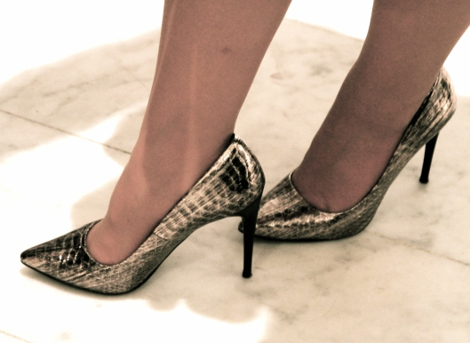Snake Print Gold Tone Shoes