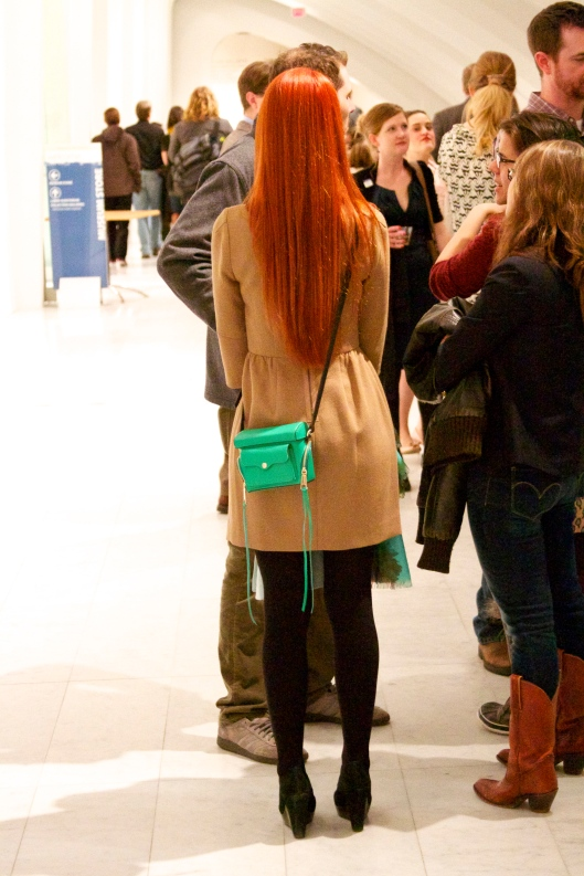 Red Hair and Green Box Purse