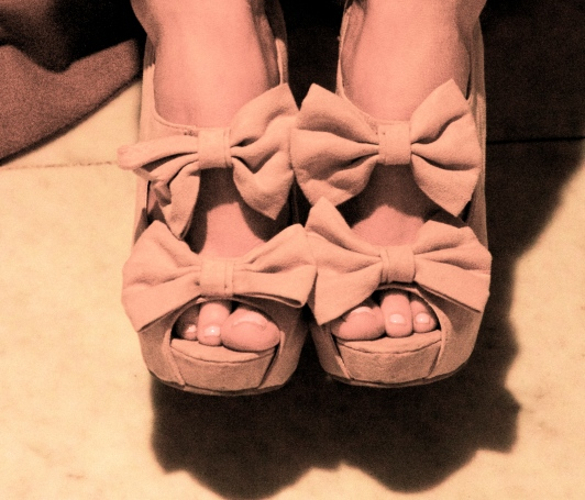 Bow Tie Open Toe Shoes
