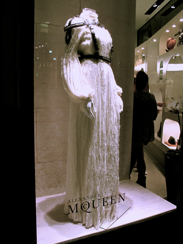 Alexander McQueen Long White Dress W/ Leather Harness - Fall 2011 Collection