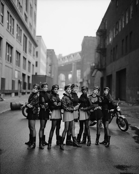 In very early 1990s, inspired by the movie, Peter Lindbergh, a prominent photographer shot supermodels of the era — Cindy Crawford, Tatjana Patitz, Helena Christensen, Linda Evangelista, Claudia Schiffer, Naomi Campbell, Karen Mulder, and Stephanie Seymour — as a group of bikers. The models were wearing Versace and Chanel.  Image by © Peter Lindbergh