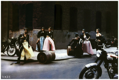 Cindy Crawford, Tatjana Patitz, Helena Christensen, Linda Evangelista, Claudia Schiffer, Naomi Campbell, Karen Mulder, and Stephanie Seymour. The models were wearing Versace and Chanel Couture.  Image by © Peter Lindbergh