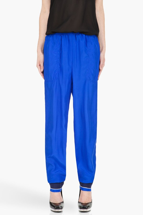 LANVIN Royal Blue Silk Trousers featuring accent stripe in white at side seams.