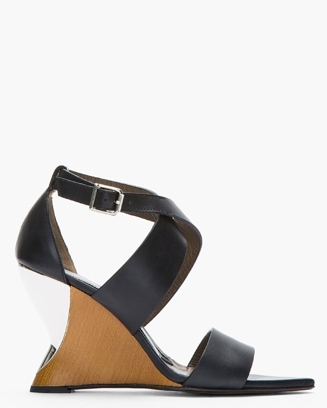 Marni Black And Silver Wedge