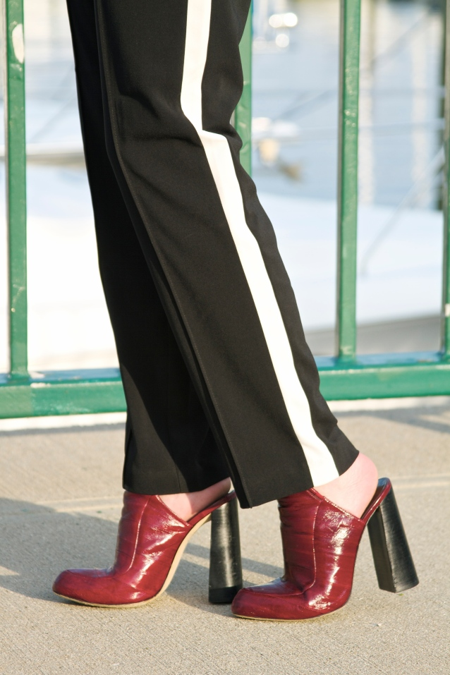 Tuxedo Side Stripe Pants (Forever 21)  Alexander Wang High-heel Mules