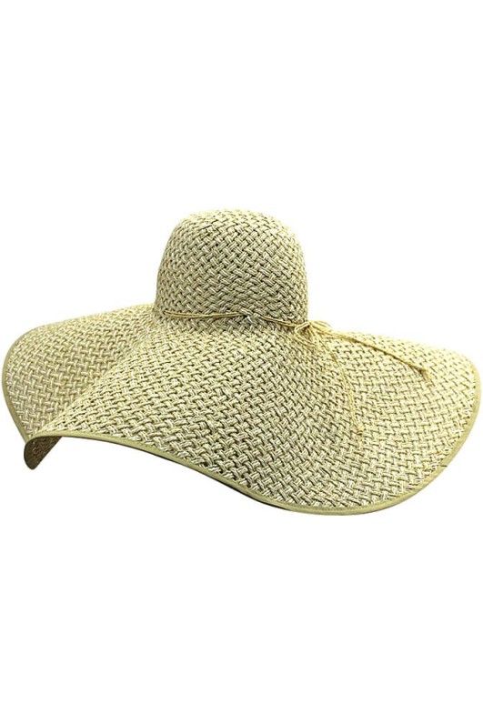"Tan & White 8"" Wide Brim Straw Beach Sun Floppy Hat"